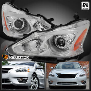 For 2013 2015 Nissan Altima Sedan Clear Lens Projector Headlights Pair Lamps