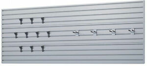 Wall Panel Set With Storage Hooks In Silver 14 Piece Modular Garage Slat New