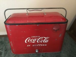 1950's drink COCA COLA in bottles PICNIC COOLER with plug & opener VINTAGE COKE