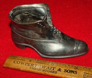 Antique Jennings Brothers Miniature White Metal Shoe Once A Sewing Pin Cushion