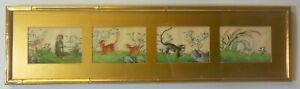 Antique Vtg Chinese Qing Painting Pith Parchment Animals Monkey Rabbit Hyenas