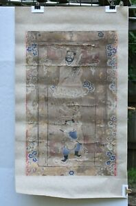 Antique Chinese Painting On Silk Fabric Tang Ka 19th C