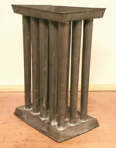 Rare Antique 19th C Tin Standing 15 Tube Candle Mold Early Lighting Peg Rack 1