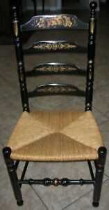 Authentic Hitchcock Black Stenciled Tall Ladder Back Chair With Rush Seat