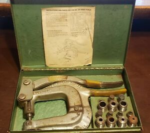 Roper Whitney Model No Xx Hand Punch Set Kit With Dies Instructions Made In Usa