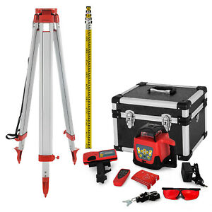Rotary Red Laser Level Tripod Staff Self Leveling Construction Measuring Kit