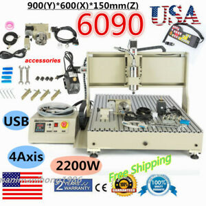 2 2kw Usb 4 Axis 6090 Cnc Engraver Engraving Mill Machine Remote With Controller