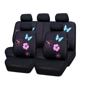 Car Pass Pink Flower Butterfly Universal Fit Car Seat Cover Split Bench For Girl