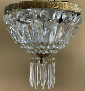 Vintage Italian Flush Mount Crystal Beaded Basket Chandelier Ceiling Fixture 10