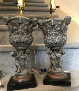 Antique Cherub Lamps Spelter Metal 4 Puttis Each Flowers Old Conv Electric Pair