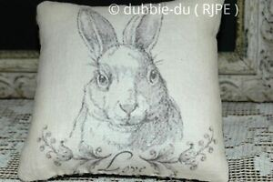 Primitive Bunny Rabbit Farmhouse Pillow Black Tan Coverlet Back