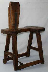 Early Primitive Wooden Cobblers Tool Work Bench Stool 1800 S Leather Iron Rustic