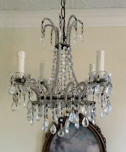 Antique French Italian Crystal Macaroni Opaline Beaded Basket Chandelier