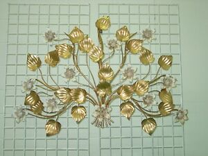 Vintage Italy Tole Metal Lighted Large 42 X 36 8 Light Wall Art Sconce