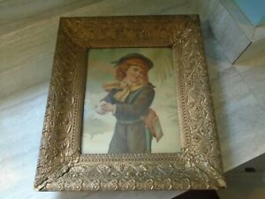 Antique Large Ornate Gold Wood Picture Frame Gesso Detail Old Print 17 5 X 15 5