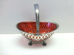 Frank M Whiting Red Glass Sterling Silver Basket Bowl Sugar Candy