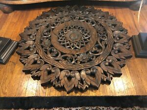 Antique Old Carved Wood Brown Tabletop End Tabletop Furniture Stand Used Wooden