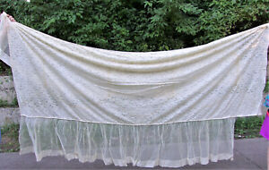 Fine Antique French Lace Coverlet Bedspread Pillow Sham Sz Twin Long 1 Of 2