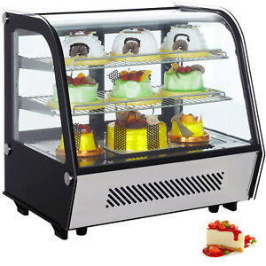 Countertop Refrigerated Display Case Led Lights 4 25 Cu Ft Double Tempered Glass