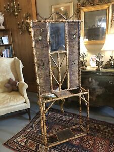 Antique 1880s Aesthetic Movement Japanese Bamboo Mirrored Hall Tree Umbrella