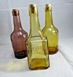 Wheaton Glass Amber And Purple Bottles Bitter Halloween Props Corks Lot Of 3