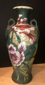 Large Antique Asian Japanese Satsuma Moriage Double Handled Vase