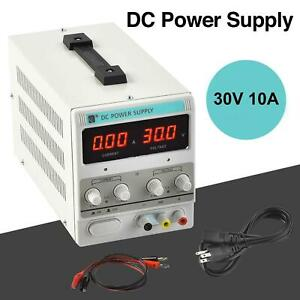 Dc Power Supply 30v 10a Us ca 110v variable Precision Led Display Clip Cord