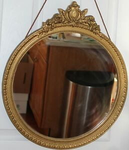 Victorian Antique Vintage 19 Round Wood Carved Wall Mantle Mirror