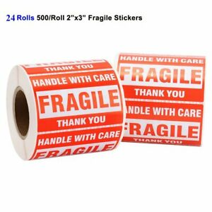 24 Rolls 500 roll 2x3 Fragile Stickers Handle With Care Shipping Mailing Labels