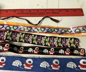 Lot 9 75 Yd Of Vintage Embroidered Novelty Ribbon Trim With Butterflies Eskimo
