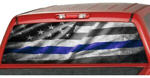 American Flag B W Blue Police Line Rear Window Graphics Decal Pickup Truck Wrap