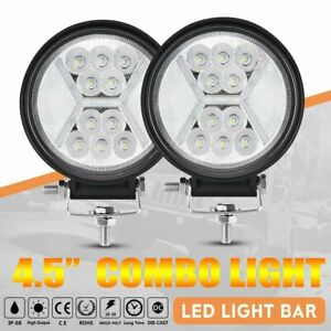 2pcs 5inch Led Work Light 90w Round Spot Flood Driving Fog Lamp Suv Atv Offroad