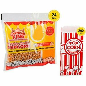Popcorn Kits For Machines 8 Oz 200 Bags And Oil Packets 24pcs W Coasters