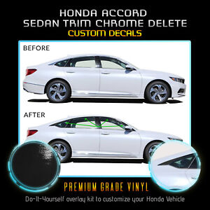Fit 18 20 Honda Accord Window Trim Chrome Delete Blackout Kit Gloss Black
