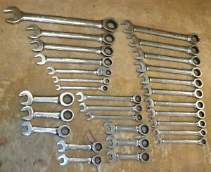 Lot Of 29 Gear Wrench Ratcheting Wrenches Metric Sae Stubby Reg Free Ship T01
