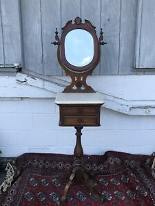 Victorian Walnut Marble Top Mirrored Hall Stand Or Shaving Stand