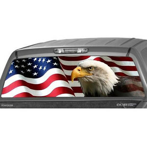 American Flag Eagle Rear Window Graphic Decal Tint Sticker Truck Perforated Usa