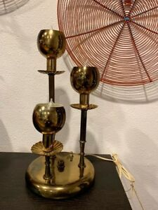 Vintage Mid Century Lamp Gold Atomic Lighting Retro Upright 3 Tier Light Pierce