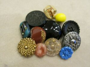 Lot Of 12 Antique Glass Painted Carved Moonglow Sewing Buttons