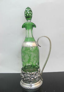 Emerald Green Bohemian Glass Silver Grapes Wine Carafe Pitcher England