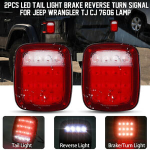 Led Tail Lights Rear Brake Lamps Turn Stop Reverse For Jeep Wrangler Tj Cj 76 06