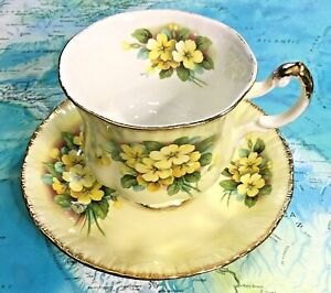 Vintage Paragon England Bone China Tea Cup Saucer Yellow Flowers Gold Trim