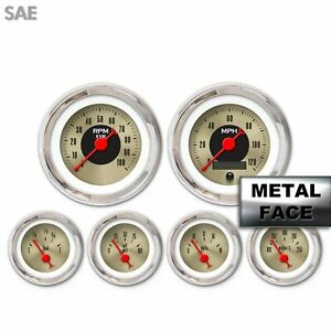 6 Gauge Set Sae American Classic Gold Red Classic Needles Chrome Trim Rings
