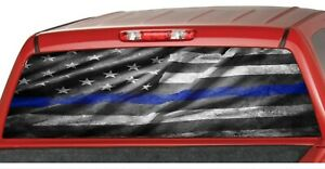 American Distressed Flag Police Blue Line Rear Window Graphic Decal Pickup Truck