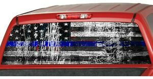 American Flag Distressed Police Blue Line Rear Window Graphics Decal Truck Wrap