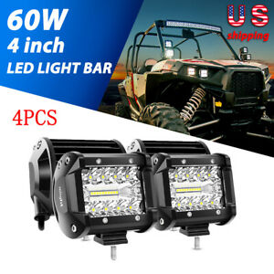 4x 4 Inch Spot Pods Led Work Lights Bar 60w Offroad Trucks Fog Driving Lamp 4x4