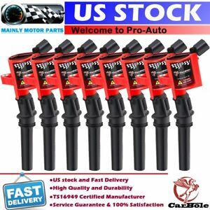 8 Pack High Energy Red Ignition Coils For Ford F150 F250 F550 4 6l 5 4l V8 Dg508