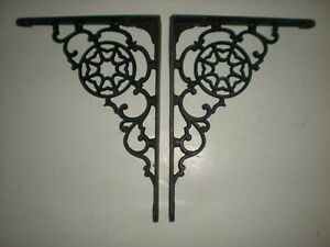 Vtg 1800 S Pair Of Antique Victorian Cast Iron Fancy Ornate Shelf Brackets