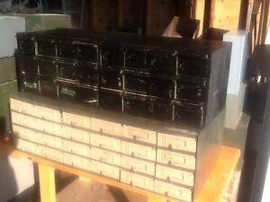 2 Vtg 24 Drawer Large Metal File storage Cabinets Great Look Good Condition