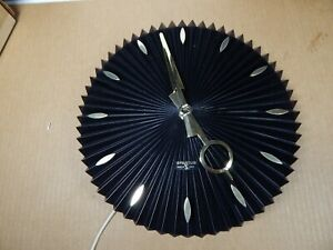 Mid Century Modern Spartus Fantasy Wall Clock Black Gold Nos In Original Box